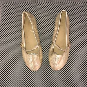 Girls Gold Mary Jane Flats